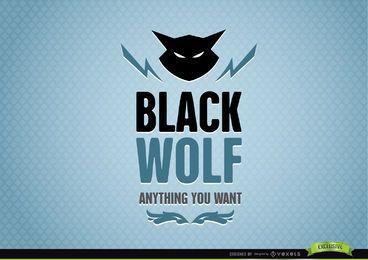 Schwarzer Wolf-abstraktes Tierlogo