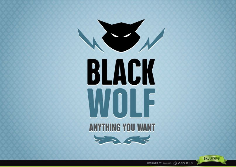 Logo de lobo negro abstracto animal