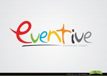 Plantilla de logotipo de diseño colorido eventual