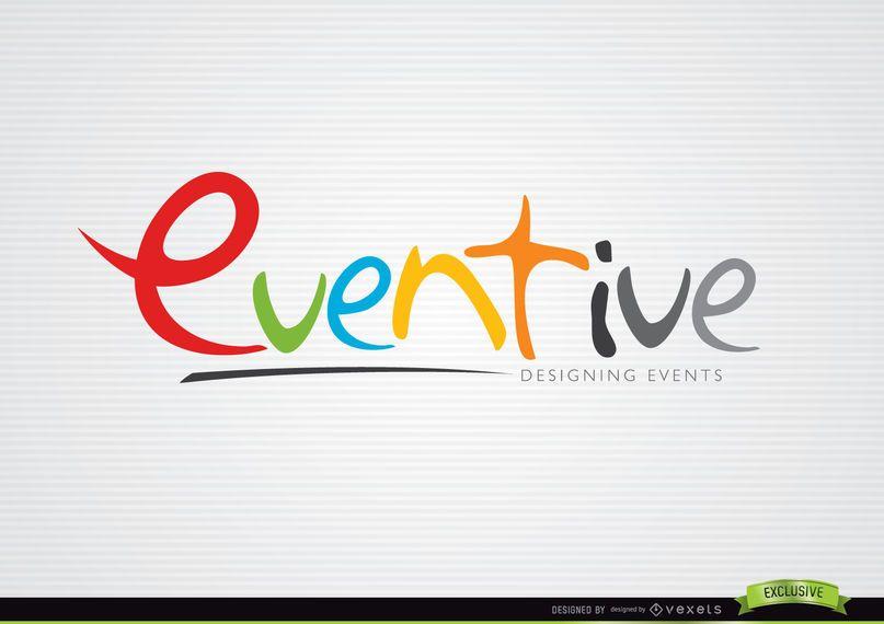 Modelo de logotipo de design colorido eventual