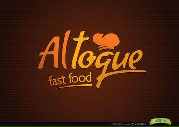 Logotipo creativo tipográfico de los alimentos de preparación rápida