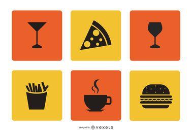 Conjunto de ícones de alimentos e bebidas simples