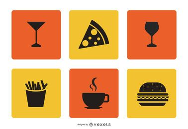 Flat Food & Beverage Icon Set