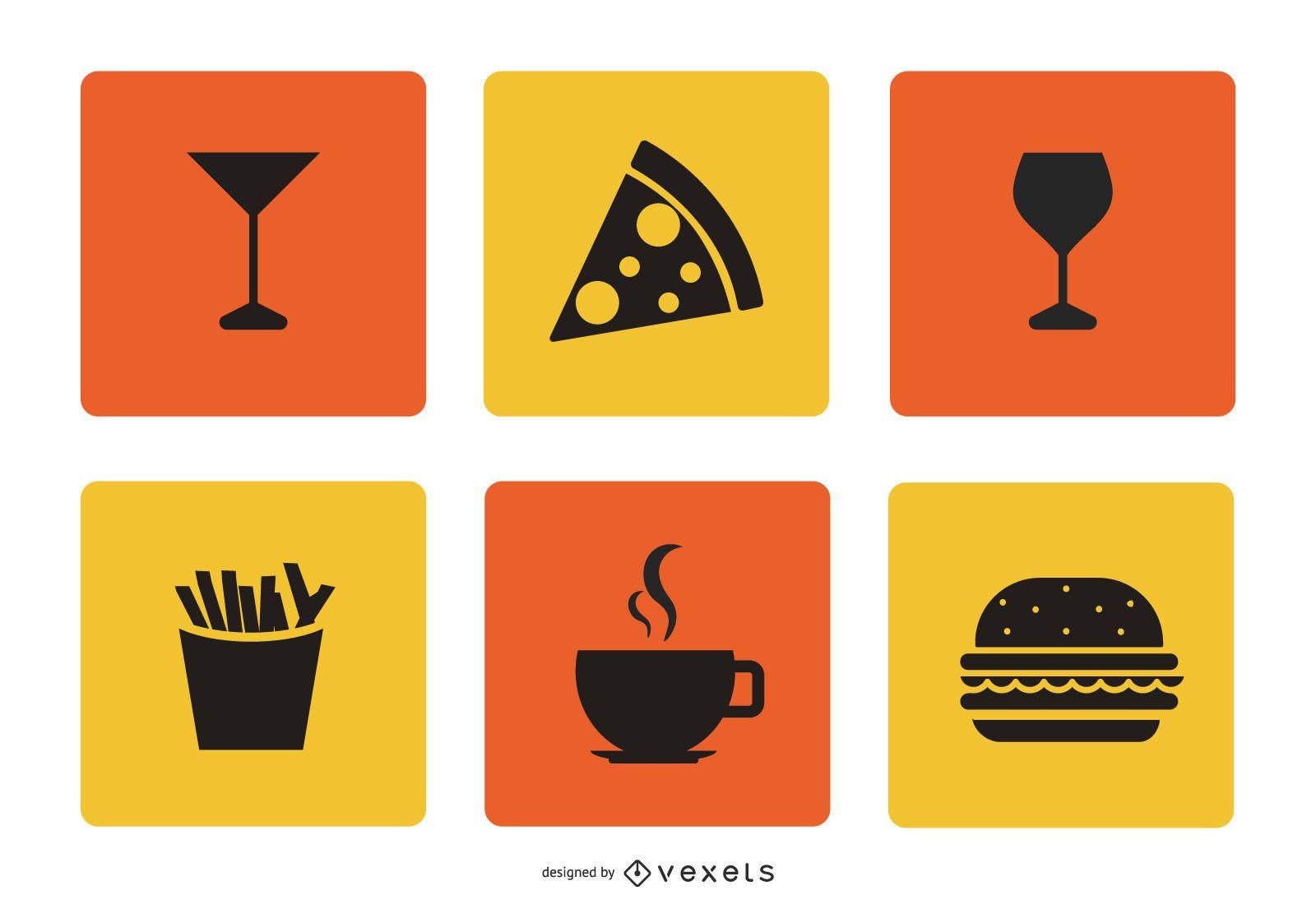 Conjunto de iconos de comida y bebida plana