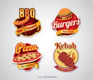 Kebab y barbacoa logotipos