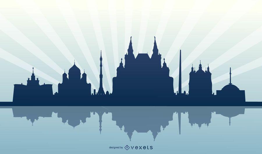 Silhueta de horizonte de Moscou Rússia