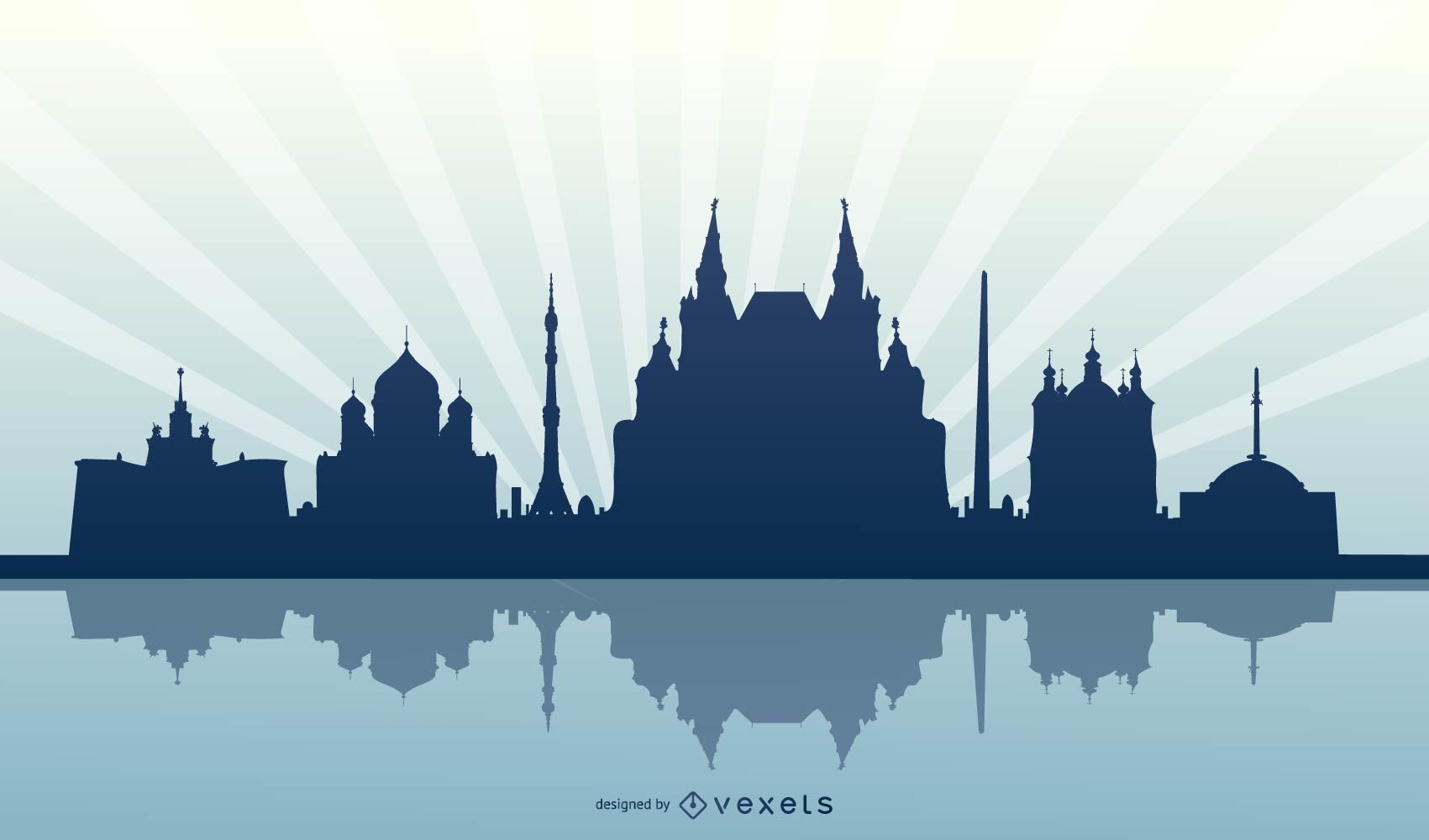 Moscow Russia Skyline Silhouette