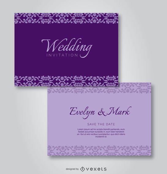 Convite roxo do casamento