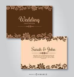 Convites de modelos florais de casamento