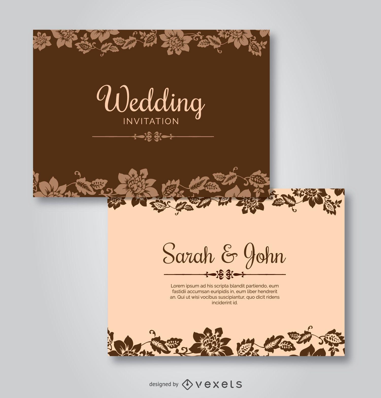 Tarjeta de boda PSD mockup design - Descargar PSD