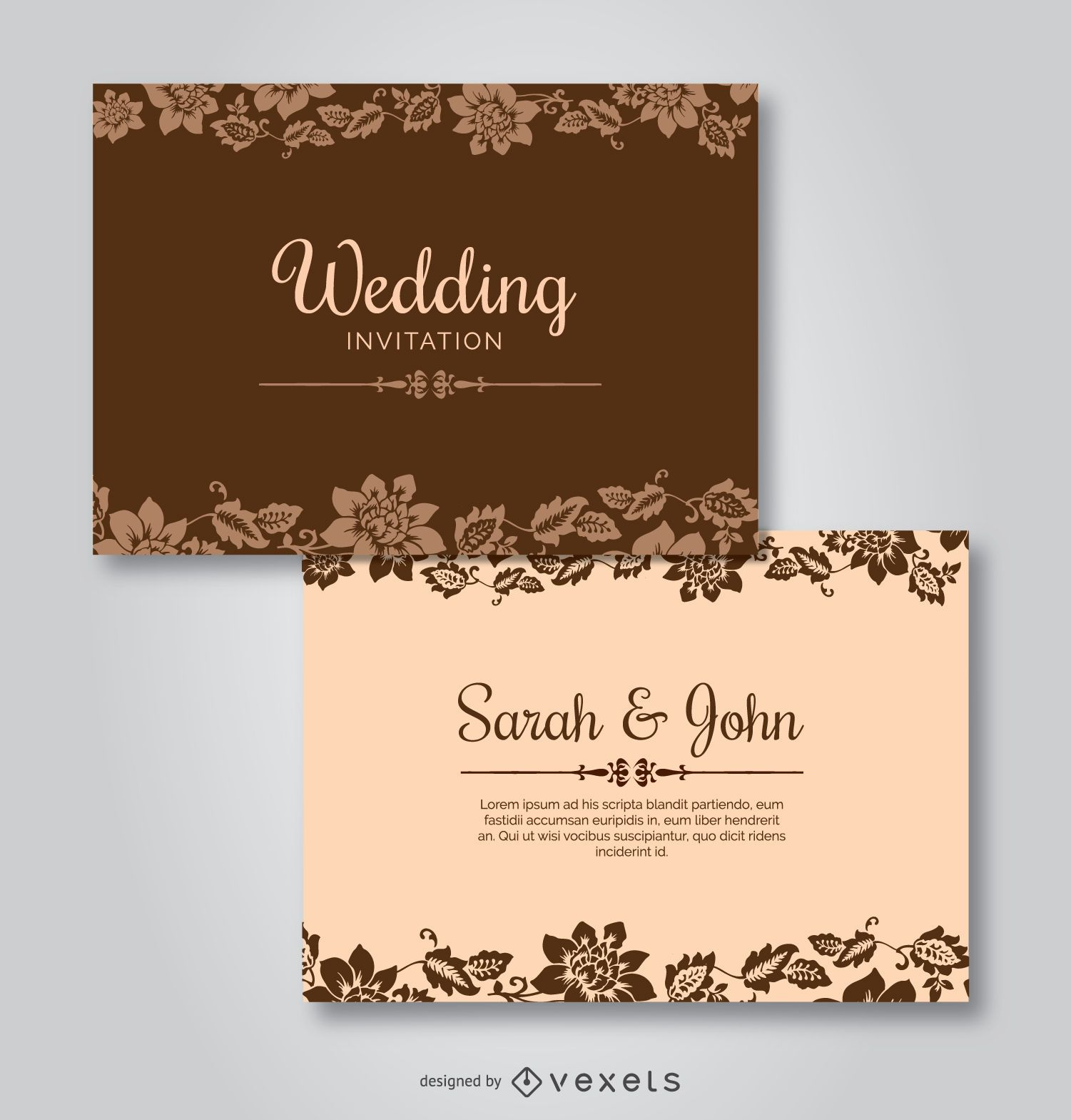 Wedding Floral Template Invitations