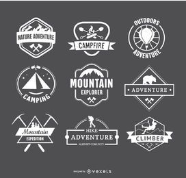 Retro Camping Logos and Hiking Badges Emblems