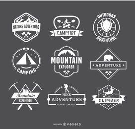 Retro Logos campismo e caminhadas Distintivos Emblemas