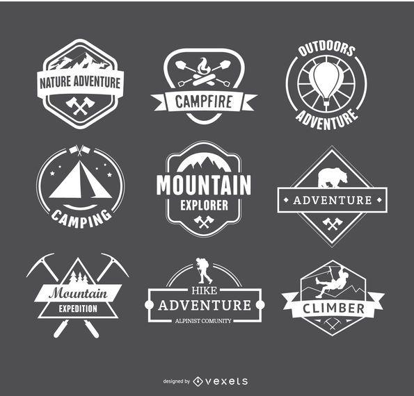 Logotipos de acampamento retrô e emblemas de distintivos de caminhadas