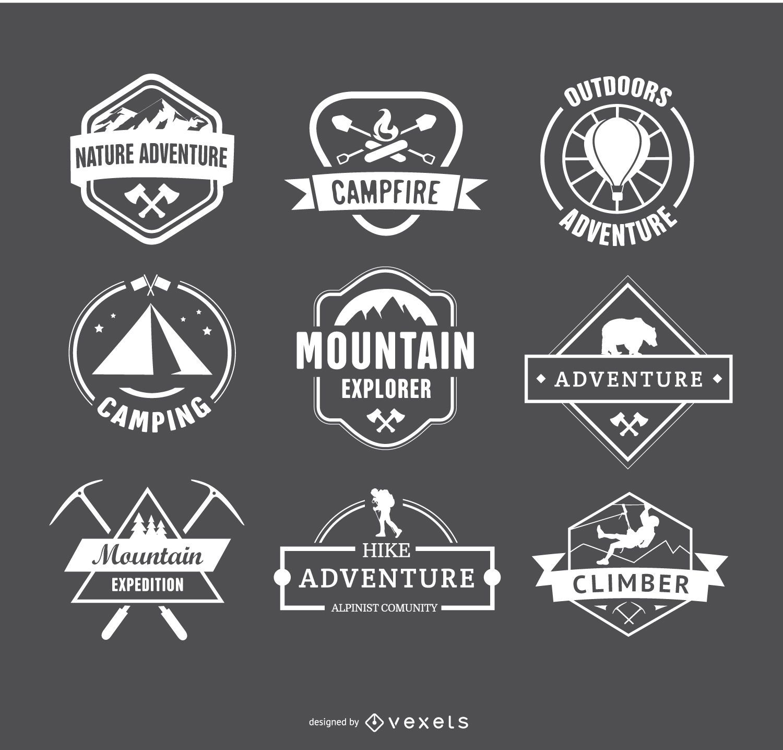 Emblemas de logotipos de acampamento retrô e emblemas de caminhada