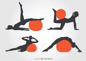 Menina, pilates, silueta, com, bola