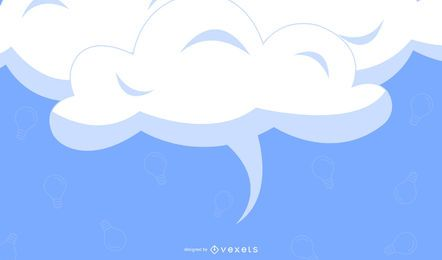White Clouds Blue Background