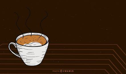 Fondo de la taza de café caliente