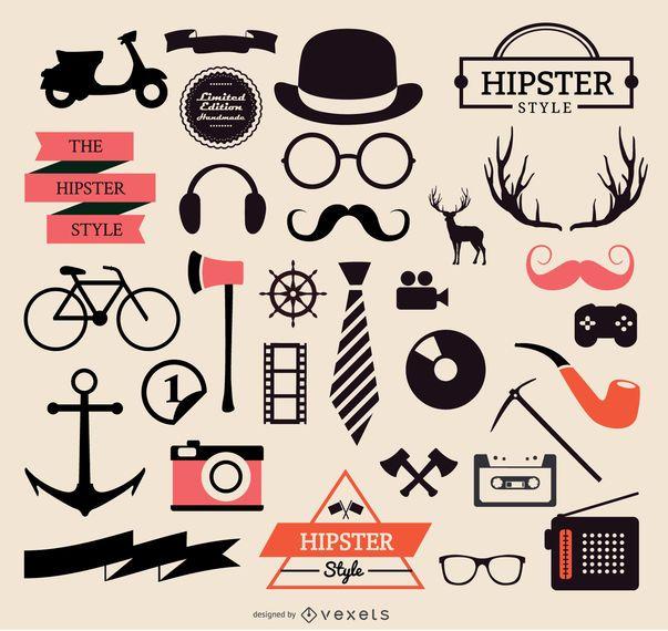 Coleção de elementos hipster