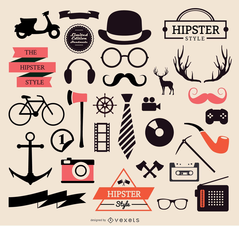 Colecci?n de elementos hipster