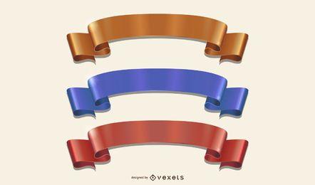 Cintas de colores dobladas con curvas