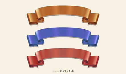 Curvy Folded Colorful Ribbons