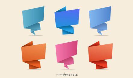 Paquete de letreros de origami abstracto