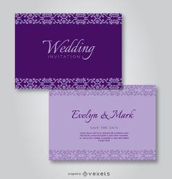 Lila elegante Hochzeits-Einladung