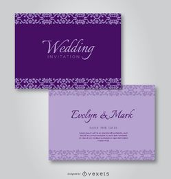 Purple Elegant Wedding Invitation