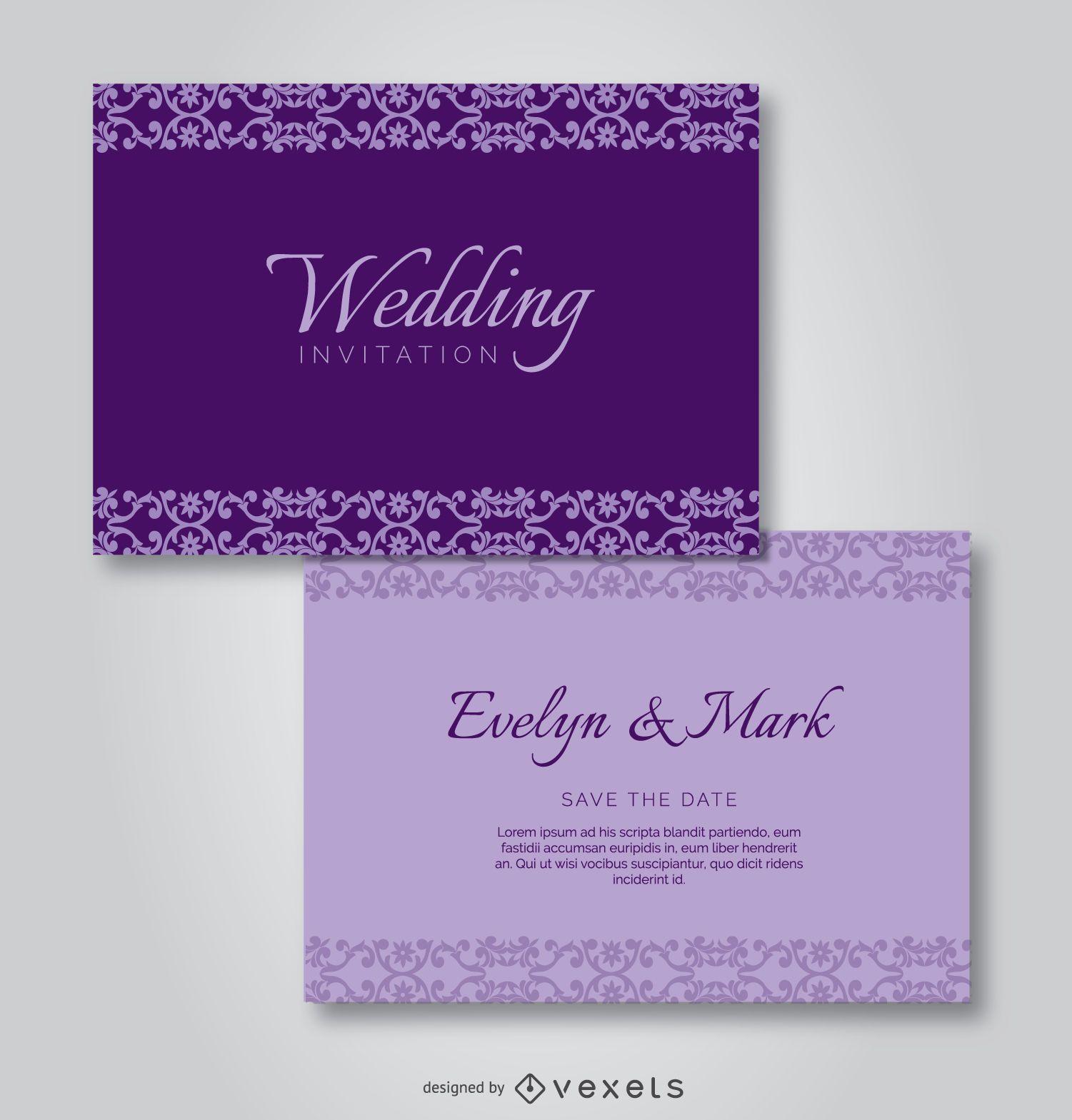 Purple Elegant Wedding Invitation