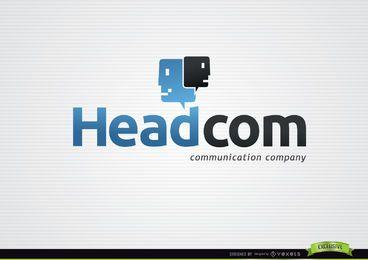 Logotipo de comunicação de nuvens de cabeça