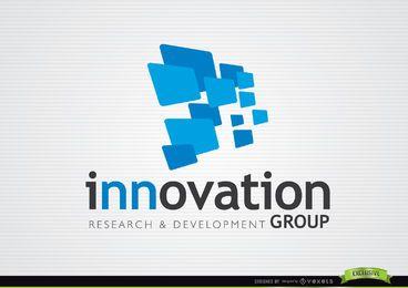 Logotipo de inovação de retângulos azuis 3D
