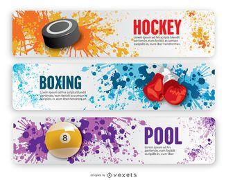 Banners de grunge de boxe, hóquei e piscina