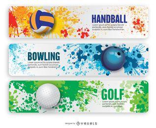Banners de handebol boliche e golfe