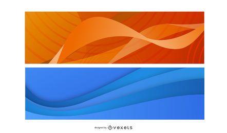 Conjunto de Banner de ondas coloridas