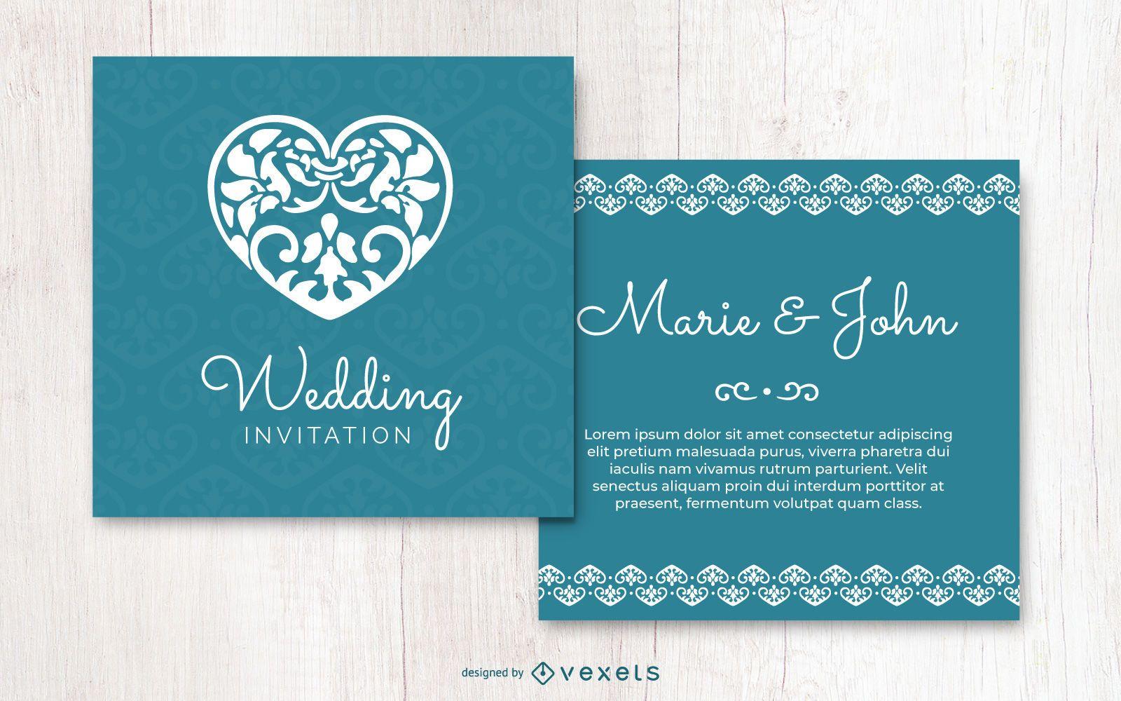Invitación de boda de corazón floral creativo