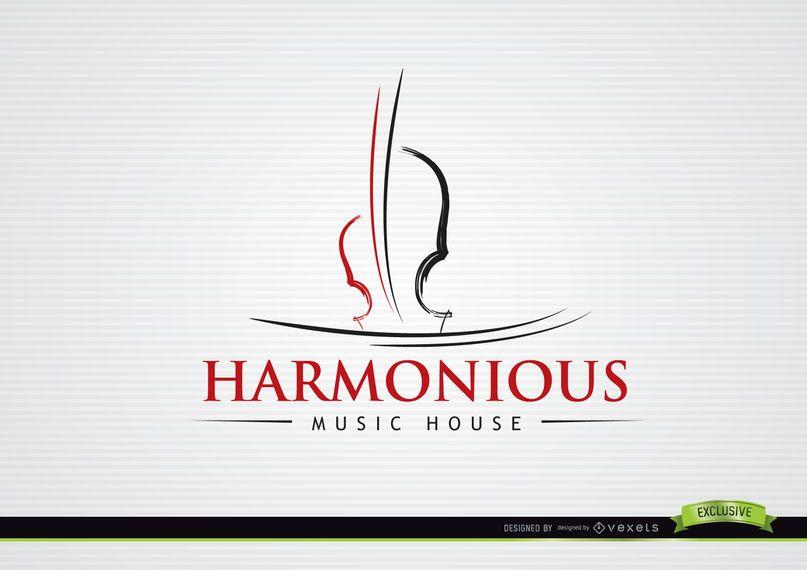 Liner Violin Musical Logo