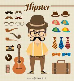 Personagem de hipster com elementos