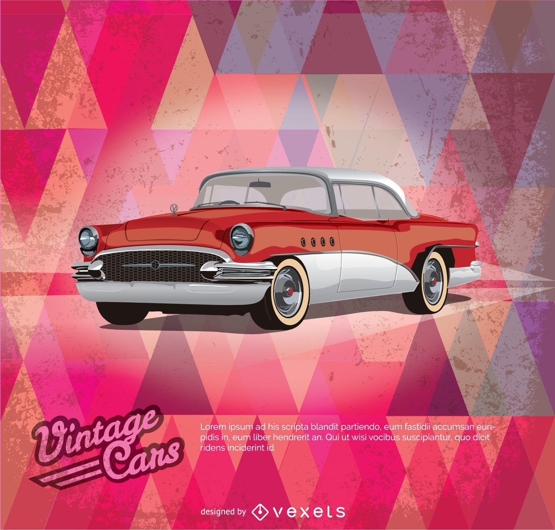 Cartel rojo de coches de época
