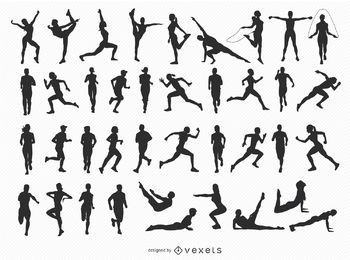 40 Fitness-Silhouetten