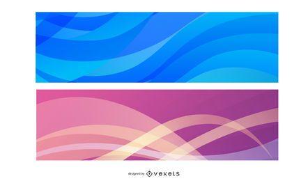 Banners coloridos de ondas abstractas