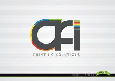 Logotipo tipográfico de solución de impresión OFI