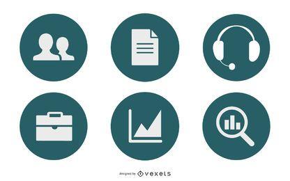 Elegante paquete circular de iconos de negocios