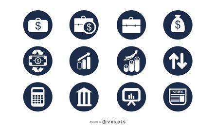 Elegante paquete de iconos de negocios para el círculo