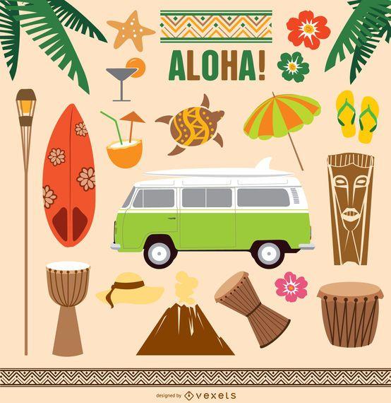 Conjunto de vectores de elementos de Hawaii Tiki Aloha
