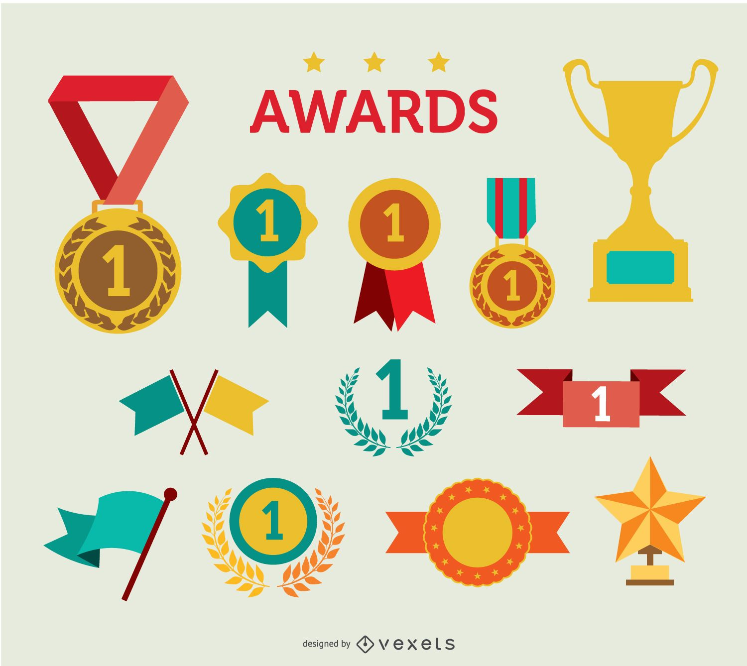 Trophy and awards icon Set
