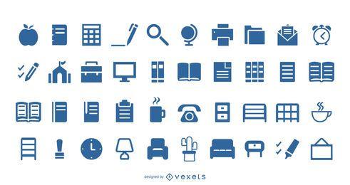 40 iconos de biblioteca de oficina de revestimiento