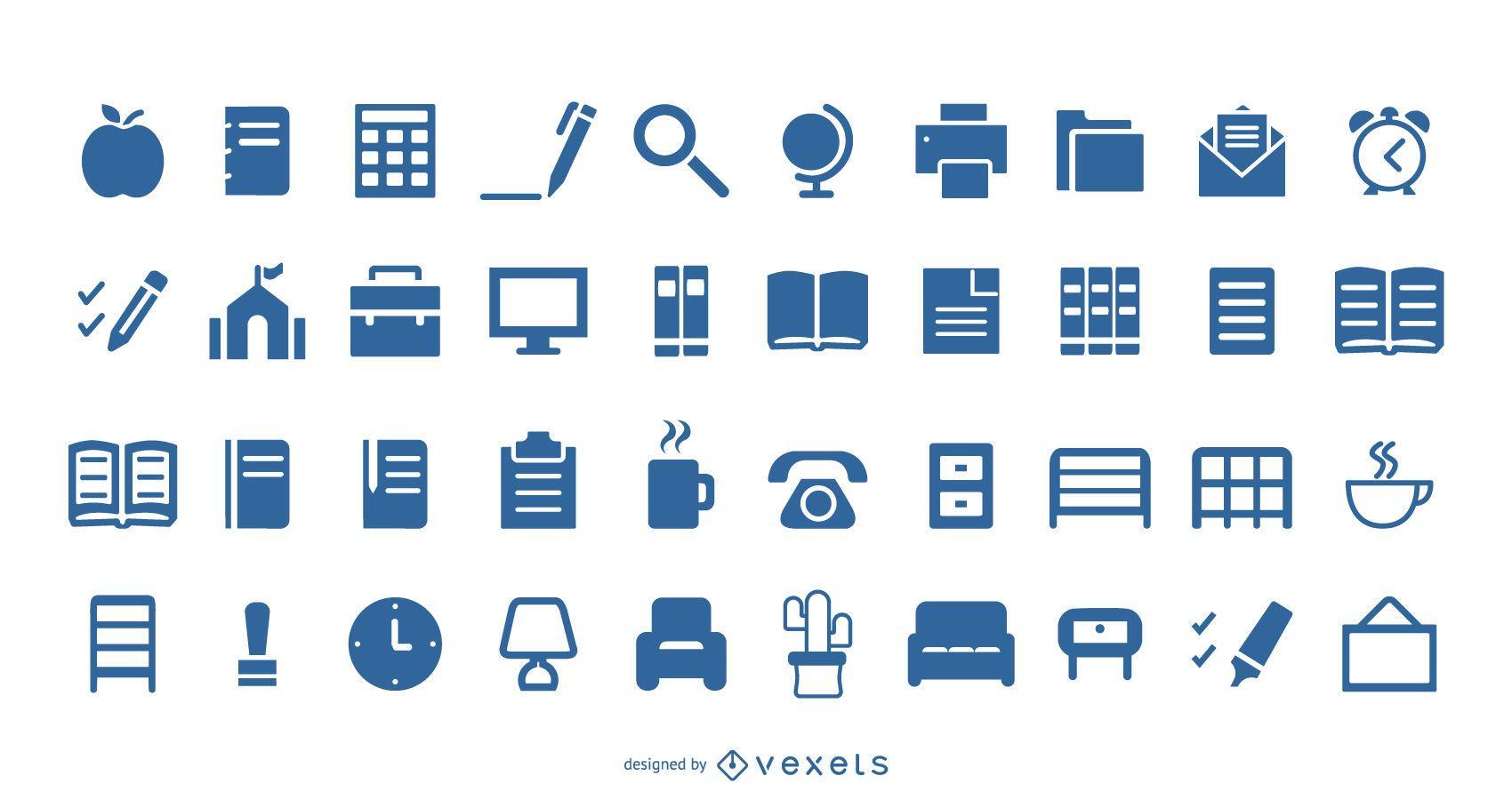 40 Liner Office Library-Symbole