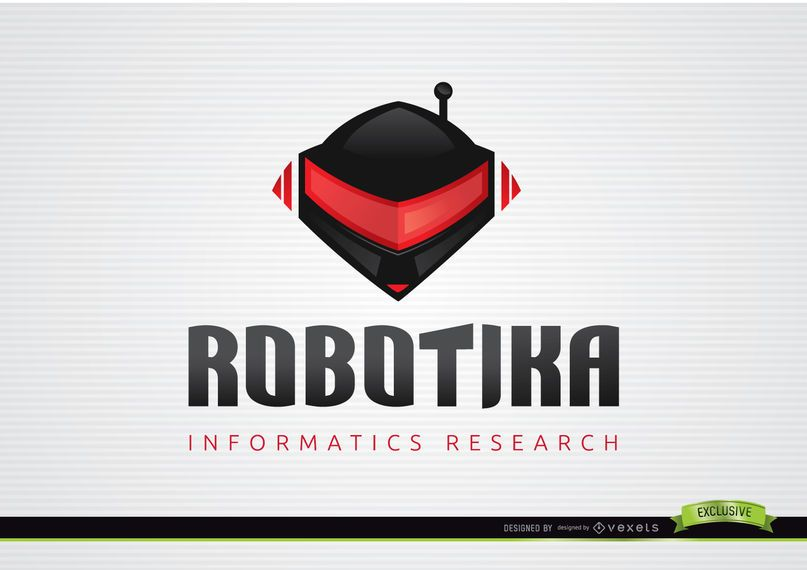 Modelo de logotipo informativo de capacete de robô