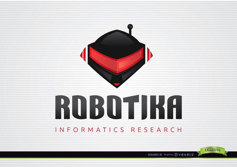 Plantilla informativa del logotipo del casco del robot